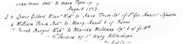 William Finch marries Mary Ansell both of Brick Lane on 4 August 1739 tighter crop